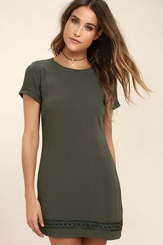 Lulus Exclusive! The Perfect Time Olive Green Shift Dress is always a great idea! Gauzy woven rayon shapes a rounded neckline, short sleeves, and a darted, shift silhouette. Pierced embroidery accents the sleeves and hem. Hidden back zipper/clasp.