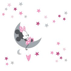 Decorate your nursery walls with these custom wall decals. They feature everyone's favorite Minnie Mouse napping on a crescent shaped moon in the sky. She is surrounded by multiple colored stars in various sizes. These decals are easy to apply and remove. Minnie Mouse Baby Room, Minnie Mouse Wall Decals, Baby Mickey, Disney Baby Nurseries, Baby Girl Nursery Themes, Nursery Crib, Crib Bedding, Harper Nursery, Mouse Paint