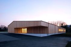 """The project for the technical college for wood technology aims to focus the """"big house"""" into an archetypal basic form and integrates it into the urban fabric..."""