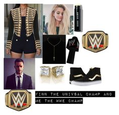 """celebration on RAW with FINN BALOR"" by alexisotey14 ❤ liked on Polyvore featuring Balmain, Vans, Argento Vivo, Bobbi Brown Cosmetics and WWE"