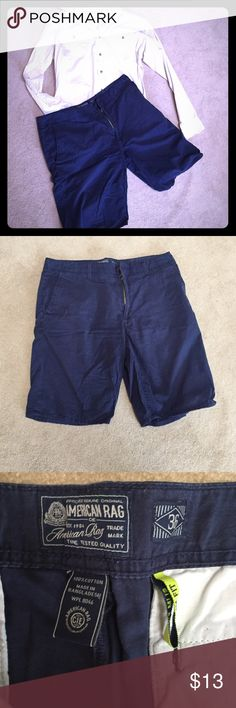 Blue cotton shorts These shorts have been loved but are slim fit and in great condition. The 100% cotton dark blue wash is versatile for any wardrobe and comfortable for a warm day. 🚭smoke free home. 💰save 10% on bundles ✅reasonable offers welcome American Rag Shorts Hybrids