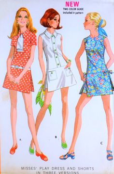 0cc96d1f249 1970s CUTE Sports Dress Pattern McCALLS 2424 Retro Skort Culotte Mini  pantskirt Shorts Playsuit Bust 34 Vintage Sewing Pattern UNCUT