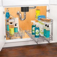 Slide Out Shelves, Sliding Shelves, Sliding Drawers, Kitchen Cabinet Organization, Storage Cabinets, Under Sink Organization Bathroom, Clever Kitchen Storage, Storage Organization, Countertop Organization