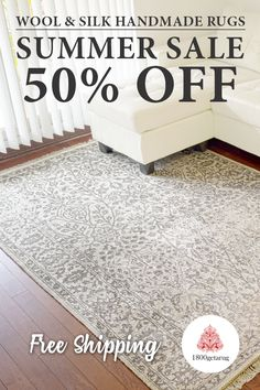 Traditional Ivory Wool & Silk Hand-Knotted Rug