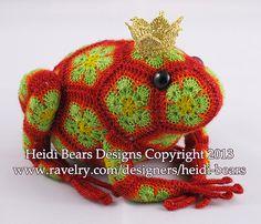 Ravelry: Tomato the Frog Prince African Flower Crochet Pattern pattern by Heidi Bears