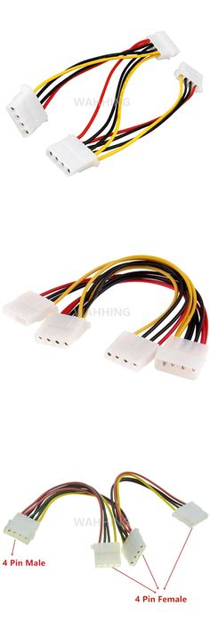 [Visit to Buy] 4 Pin Molex Male to 3 port 4Pin Molex IDE Female Power Supply Splitter Adapter Cable Computer Power Cable Connector HY1264 #Advertisement