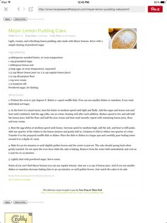 Lemon Pudding Cake, Faux Bamboo, Granulated Sugar, Unsalted Butter, How To Make Cake, Delish, Cooking, Kitchen, Brewing
