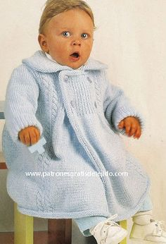 Tapado clásico dos agujas para bebe paso a paso Knitting For Kids, Baby Knitting Patterns, Rubrics, Turtle Neck, Wool, Crochet, Sweaters, How To Wear, Dresses