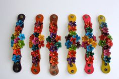 fLower Spring leather cuff - deep purple strap. $29.00, via Etsy.