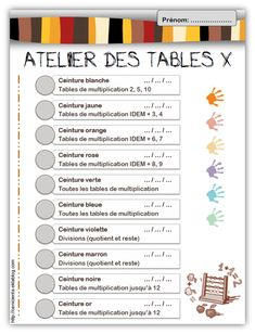 ceinture tables 2 Cycle 3, Math Multiplication, Number Sense, Numeracy, Teaching Math, Classroom Management, Kids Learning, Montessori, Education