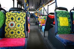 Crochet decorated bus in Finland #streetart