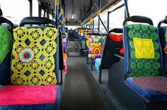 Crochet yarn graffiti on an ordinary bus in Vantaa, Finland. Incorporate well up the dullest of days?