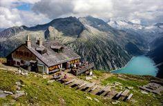 Zillertal Alps near Mayrhofen Olpererhutte, overlooking the Schlegeisspeicher. Austria