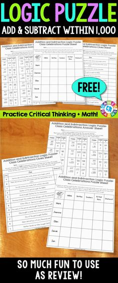 Engage your students with this FREE end of the year math activity and get them practicing both their multi-digit addition and subtraction skills and their critical thinking skills! Addition and Subtraction Within Logic Puzzle {FREE} includes 18 prob Fourth Grade Math, Second Grade Math, Fun Classroom Activities, Math Classroom, Classroom Ideas, Math Teacher, Teaching Math, Teaching Ideas, Teacher Freebies