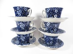Set of 6 Blue Calico Tea Cups and Saucers  Burleigh by PherdsFinds, $60.00