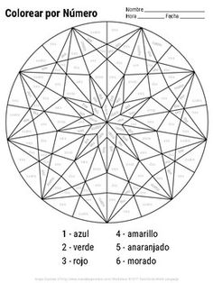 Spanish Color by Number Mandala Coloring Pages by CeroEsTres World Language Resources Alphabet Coloring Pages, Mandala Coloring Pages, Alphabet Letter Crafts, Letter Tracing, Letter Recognition, Alphabet Activities, Gem Drawing, Crystal Drawing, Spanish Colors