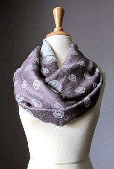 Coffee and Milk scarf infinity scarf polka dots scarf