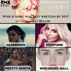 Which song was not written by #SIA?  (a) #Beyonce's Pretty Hurts  (b) #Rihanna's Diamonds  (c) #BritanySpears's Perfume  (d) #MileyCyrus's Wreaking Ball  - - - - #UK #UKmusic #Summerfestival #Ukfestival #earlybird #tickets #singerlife #beastar #singing #musicevent #event #talent #musician #artist #songcover #business #startup #entrepreneur #connectwithfans #track #rap #instamusic #musicvideo #video #promotion