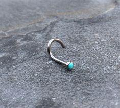 Piedra turquesa anillo de la nariz tornillo de titanio