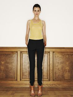 Rützou micro modal top in electric yellow stribes and cotton rayon linen pants with pockets in black with white stribe