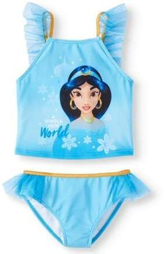 50341b670a Disney Princess Princess Jasmine Ruffled Tankini Swimsuit (Little Girls)