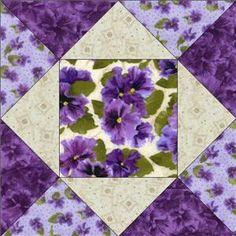 Debbie Beaves Lovely Purple Cream Lavender Floral Pansy Fabric Quilt Block Kit | eBay