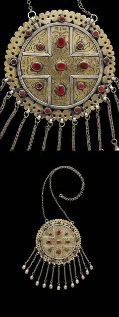 Turkmenistan | Married woman's pectoral ~ 'guljaka ~ from the Tekke people; gilded silver and carnelians | ca. early 20th century //  ©Quai Branly Museum. 70.2007.27.2