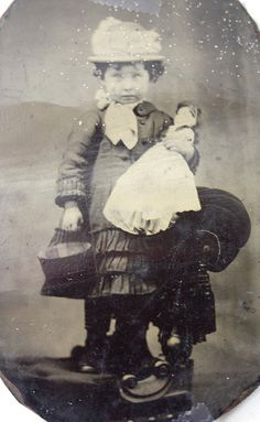 """""""1800-Sweet little girl.. Love her doll too"""" - right, probably 1900 and gaah! - creepy."""