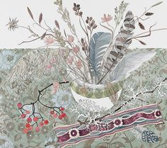 Angie Lewin - Persephone Bowl with Thrift and Feathers - watercolour - www.angielewin.co.uk