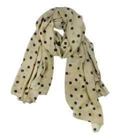 Pretty beige  and black polka dot scarf! Great for dressing up an outfit!