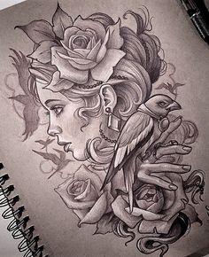 Face for tattoo - Face for tattoo - Tattoo Project, Body Art Tattoos, Sketches, Traditional Tattoo, Art Drawings Sketches, Drawing Sketches, Tattoo Design Drawings, Pencil Art Drawings, Girl Tattoos