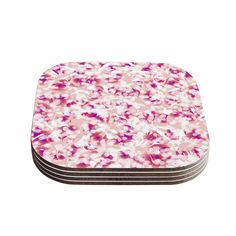 "Kess InHouse Angelo Cerantola ""Rosebreath"" Pink Floral Coasters (Set of 4) 4""x 4"" (Rosebreath) (Wood)"