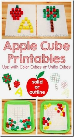 FREE! Apple cube printable mats #preschool #apples #math #kindergarten