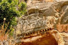 Bas-relief on rock in Myra Turkey http://www.traveltofethiye.co.uk/explore/attractions/demre-myra-lycia-turkey/
