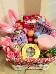Lake's 2nd Easter basket, blanket I made, Easter hot chocolate I made.