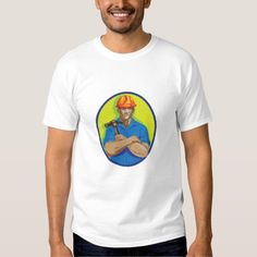 Construction Worker Foreman Arms Crossed WPA T Shirt. WPA style illustration of a construction worker wearing hardhat holding hammer with arms crossed viewed from front set inside circle on isolated background. #illustration #ConstructionWorkerForemanArmsCrossed