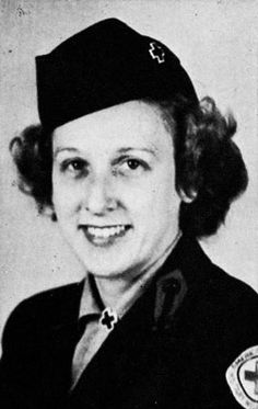 Portrait of Murial Coykendall Kiser in Red Cross uniform, taken from the Womens College, c 1944. She worked in European service clubs with the American Red Cross from 1944 to 1945 ~