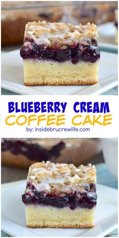 Blueberry Cream Coffee Cake Blueberry, cheesecake, and crumble make this a breakfast coffee cake that everyone will enjoy! Baking Recipes, Cake Recipes, Dessert Recipes, Drink Recipes, Bread Recipes, Blueberry Recipes, Blueberry Cheesecake, Blueberry Cake, Blueberry Danish