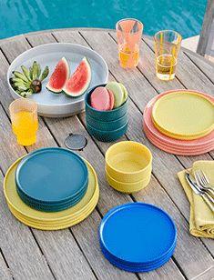 kitchen + dining Indoor Outdoor Rugs, Outdoor Dining, Patio Dining, Outdoor Sofa, Dining Chairs, Dining Table, Outdoor Dinnerware, Melamine Dinnerware Sets, Oversized Furniture