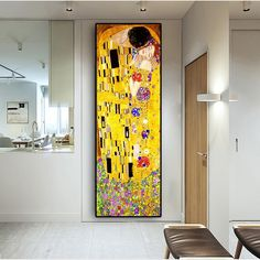 Classic Artist Gustav Klimt kiss Abstract Oil Painting on Canvas Print Poster Modern Art Wall Pictures For Living Room Cuadros Wall Prints, Canvas Art Prints, Canvas Wall Art, Poster Prints, Oil Painting Abstract, Abstract Wall Art, Spray Painting, Figure Painting, Canvas Poster