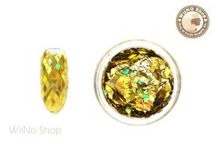 2 x 3mm Gold Diamond Shape Holographic Glitter / Nail Art Craft (DM01)