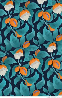 Tropical Gardern Patterns by Tetiana Kartasheva, via Behance  ~ pretty pattern ~