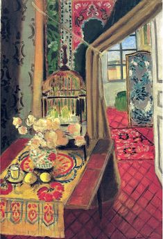 Henri Matisse - Interior Flowers and Parakeets, 1924  pattern on pattern on pattern