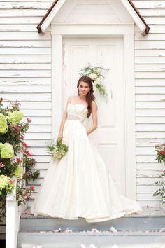 Strapless empire waist ball gown taffeta wedding dress