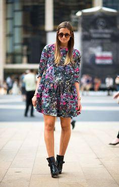 Danielle in a Marimekko dress and Zara boots #streetstyle