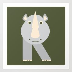 Letter R // Animal Alphabet // Rhino Art Print by Jen Montgomery - $20.00