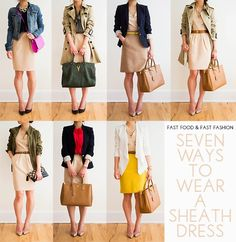 7 Ways to Wear a Sheath Dress - Fast Food & Fast Fashion | a personal style blog: 30 Outfits in a Bag: Crossover Dress