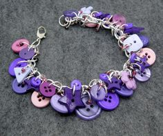 Button Charm Bracelet - Purple by randomcreative on Etsy. $22.00, via Etsy.