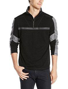 Calvin Klein Men's Color Blocked 1/4 Zip with Welded Stripes