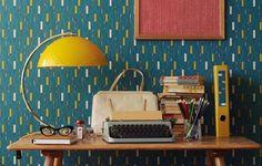 Wallpaper - Carta da parati anni 50 - Carta da parati blu